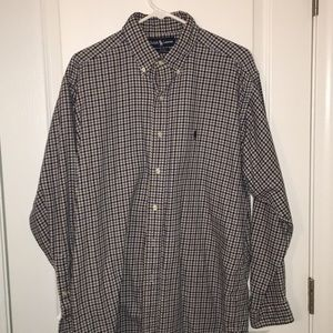 Blue Flannel plaid pony Ralph Lauren shirt L Blake